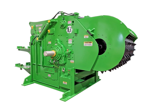 wood grinder, wood hog, horizontal wood hog, side view of wood hog, Rawlings Manufacturing, wood recycling, portable wood hog, stationary wood hog, electric wood hog